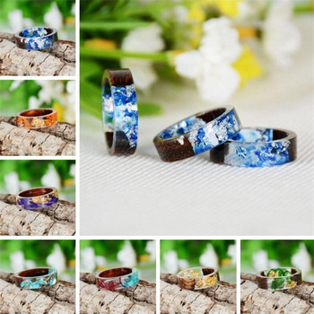 New Design Handmade Secret Wood Resin Ring Flower Plants Inside Magic Ring Jewelry Charms Novelty Wooden Ring Anniversary Rings resin rings sugar and cotton