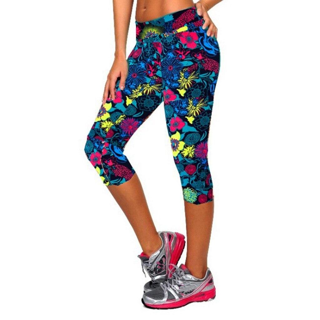 Women   Capris   Leggins High Waist Elastic Women Print High-waist Hip Stretch Running Fitness   Pants   Seven-minute   Pants   Z416