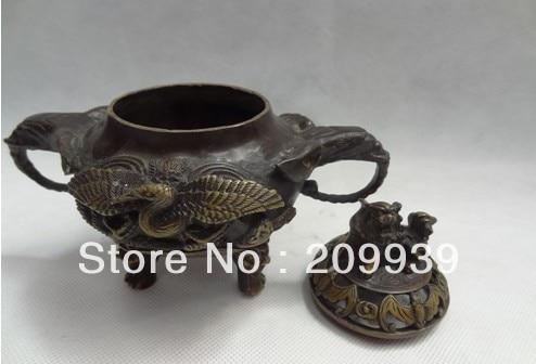 00782 China Bronze Buddhism Lion Head Crane Peacock Statue BAT Incense Burner Censer (A0314)