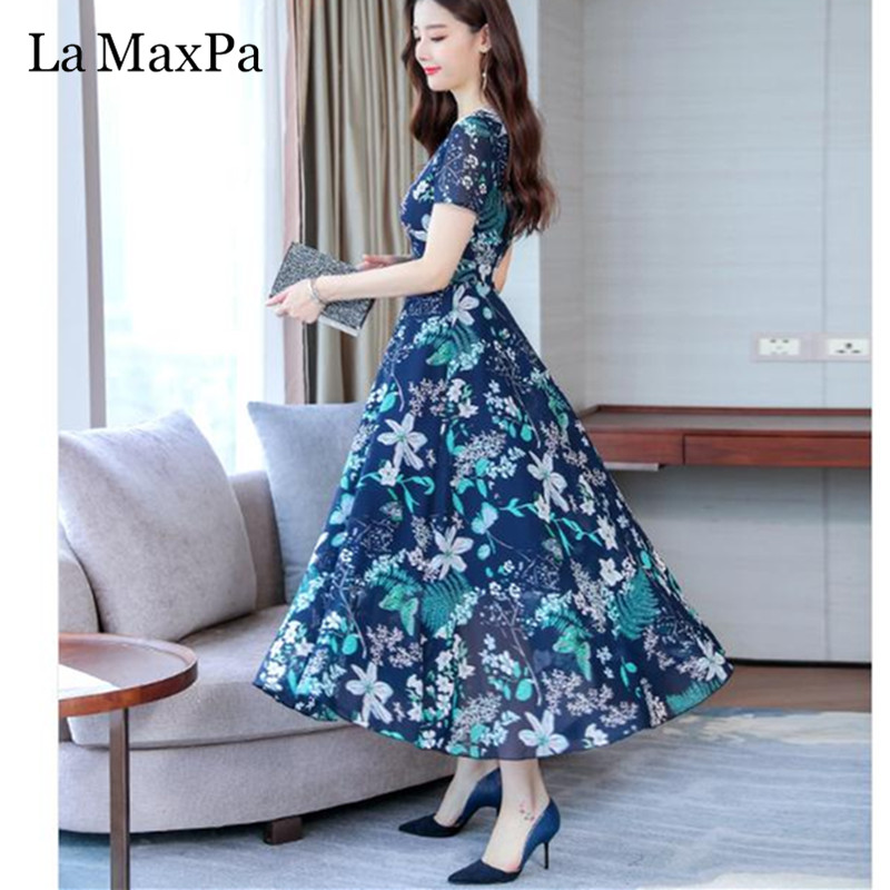 La MaxPa Dress Of The Big Sizes Fashion Print Chiffon Dress 2019 New Summer O Neck A-Line 3XL Plus Size Causal Dresses 3