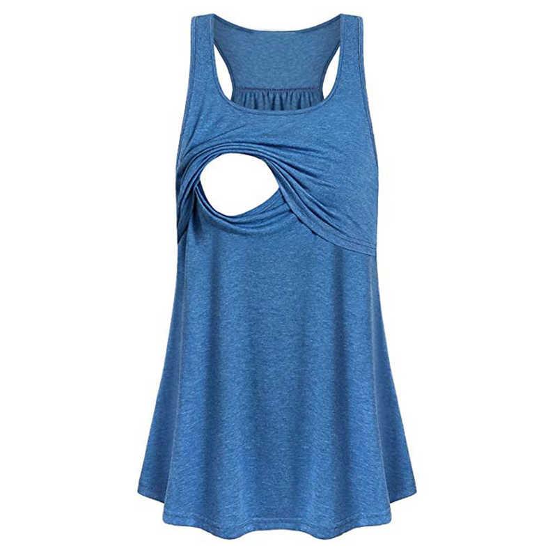 Vêtements pour femmes vêtements d'allaitement sans manches femmes maternité lâche comfortable pull-up blouse d'allaitement gilet allaitement chemise Lactation