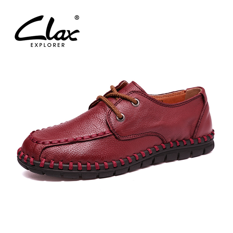 CLAX Women Leather Shoe Handmade 2017 Autumn Casual Shoes Female Genuine Leather Footwear Lady Walking Shoe Soft Comfortable claladoudou spring autumn children sneakers genuine leather red girls running shoes waterproof comfortable boys walking shoe kid