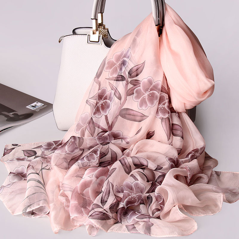 Women 100 Pure Silk Scarf 2019 Luxury Brand Print Shawls and Wraps for Ladies Print Pashmina Muffler Natural Real Silk Scarves in Women 39 s Scarves from Apparel Accessories