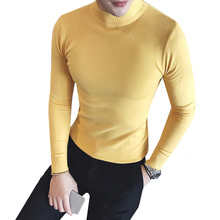 Autumn Winter Authentic Pure Color Half Turtleneck Sweater Mens Warm Computer Knitted Casual Pullovers Comfortable high quality