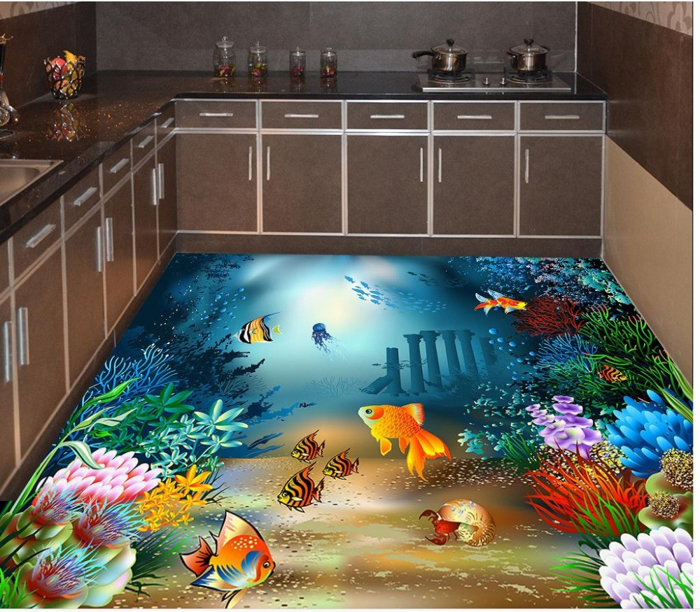 Us 22 5 55 Off 3d Floor Painting Wallpaper Underwater World Tropical Fish 3d Floor Painting 3d Bathroom Wallpaper Waterproof 3d Wallpaper Pvc In