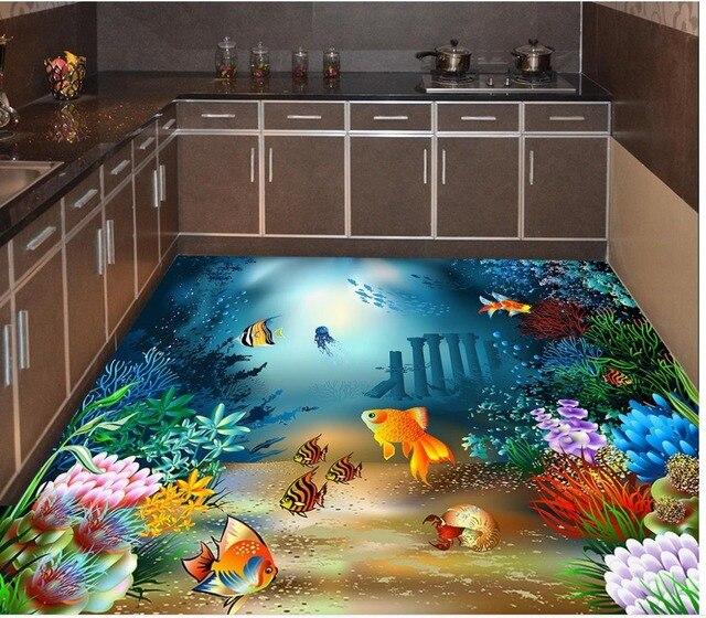 3d Floor Painting Wallpaper Underwater World Tropical Fish 3D Floor  Painting 3d Bathroom Wallpaper Waterproof 3d