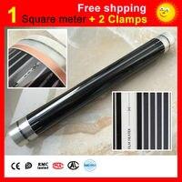 1 Square Meter Floor Heating Film 2 Clamps AC220V Far Infrared Heating Film 50cm X 2m