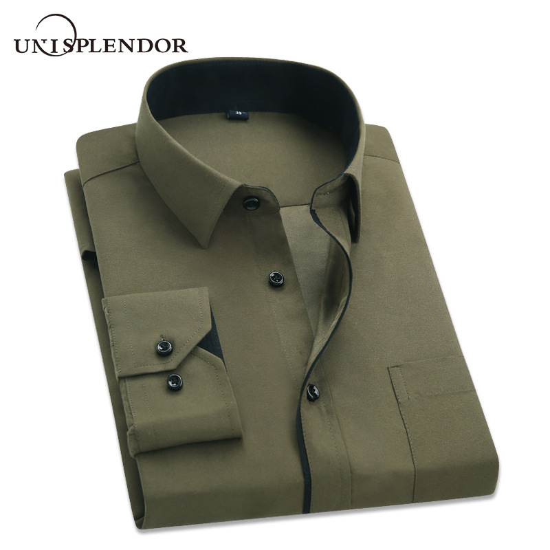 2020 Cool Men Shirts Slim Fit Man Casual Long Sleeve Shirt Spring Autumn Male Solid Tops Mans Dress Shirt Brand Clothes YN10237