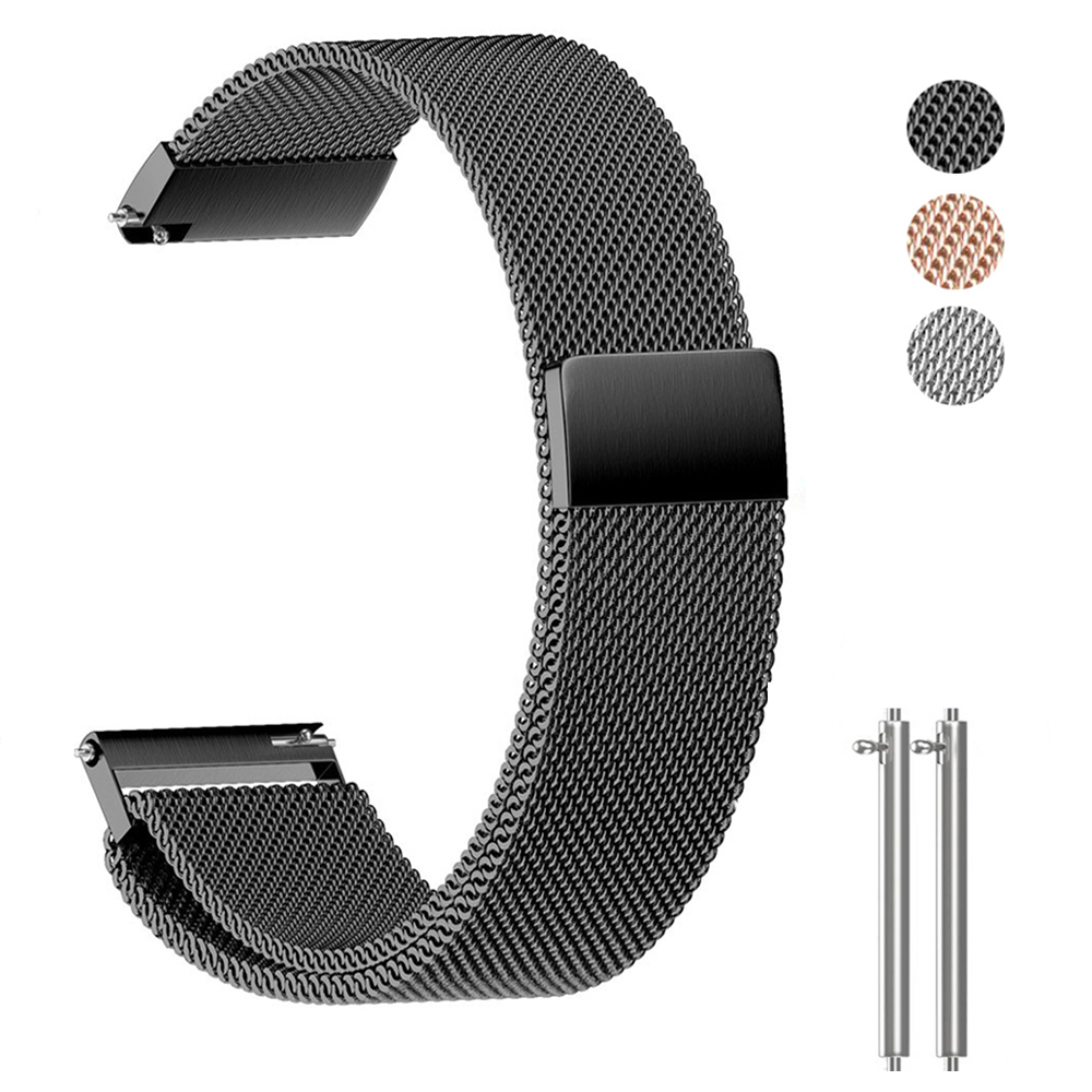 Stainless Steel Watchband with 18 20 22mm Width Universal Milanese Wristband for Smart Watch Metal Band Magnetic Release