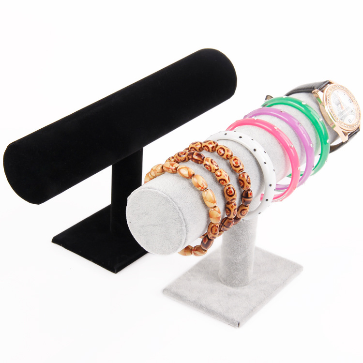 Portable Velvet/PU Leather Bracelet Bangle Necklace Display Stand Holder Watch Jewelry Organizer T-Bar Rack
