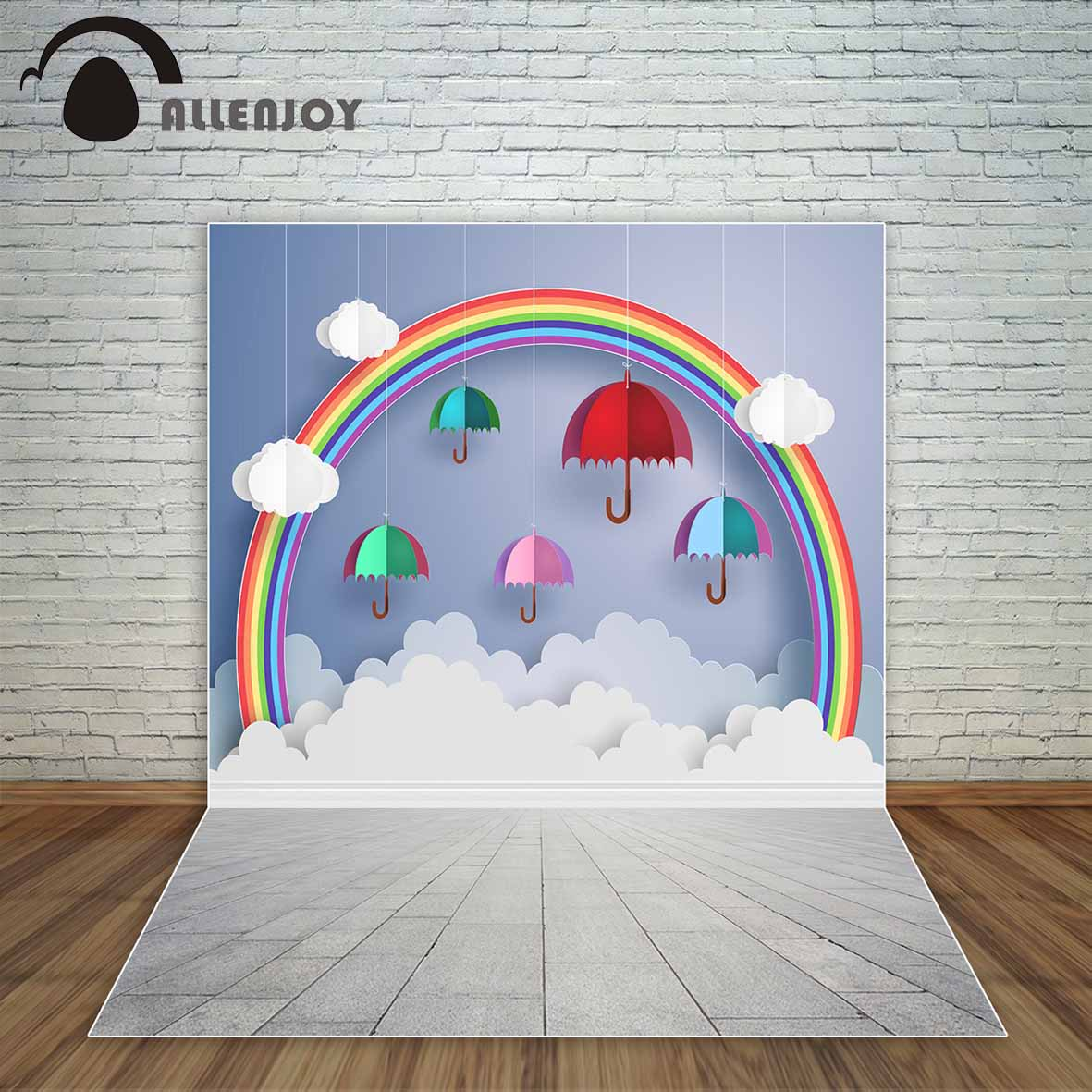 Allenjoy colorful umbrellas in the air paper art style backdrop for baby a photo fund party in background from consumer electronics on aliexpress com