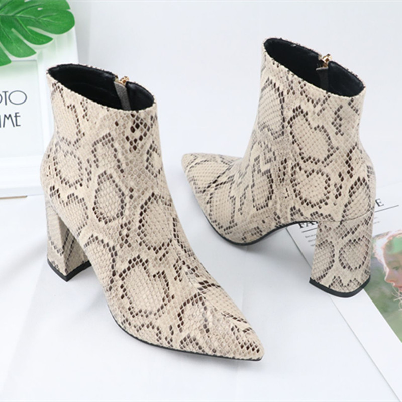 New Big Size 35 43 Snake Pu Leather Pointed Toe Zip High Heels Shoes Woman Casual Party Spring Autumn Ankle Boots