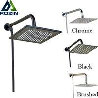 luxury 8 inch Brass Rainfall Square & Round Shower Head Bathroom Shower Head + Shower Arm + Shower Hose