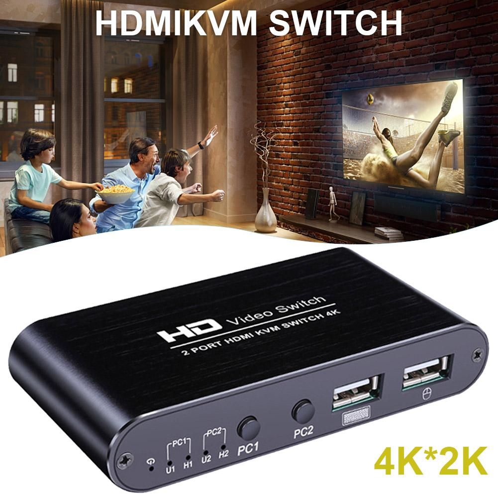 AM KM408 HDMI Computer Sharing USB Mouse Keyboard Display Two In One Out 4K Three Port KVM Switch