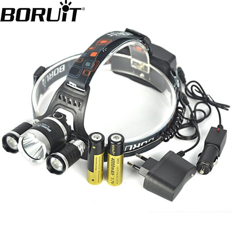 Boruit RJ-5000 Headlamp XML T6 12000 Lumens 4 Mode LED Headlight USB Power bank Rechargeable Hunting Head Light 18650 Charger original boruit 3x cree xm l xml t6 led 5000luems rechargeable headlamp head light 2x 18650 battery charger car charger