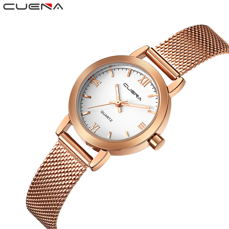 CUENA Women Watches Waterproof Quartz Wristwatch Gold Luxury Fashion Relogio Feminino Montre Femme Ladys Watch for Woman Clock sekaro women luxury top brand watch ladys lucky flower fashion wrist watch women s wristwatch montre femme quartz watch for gift