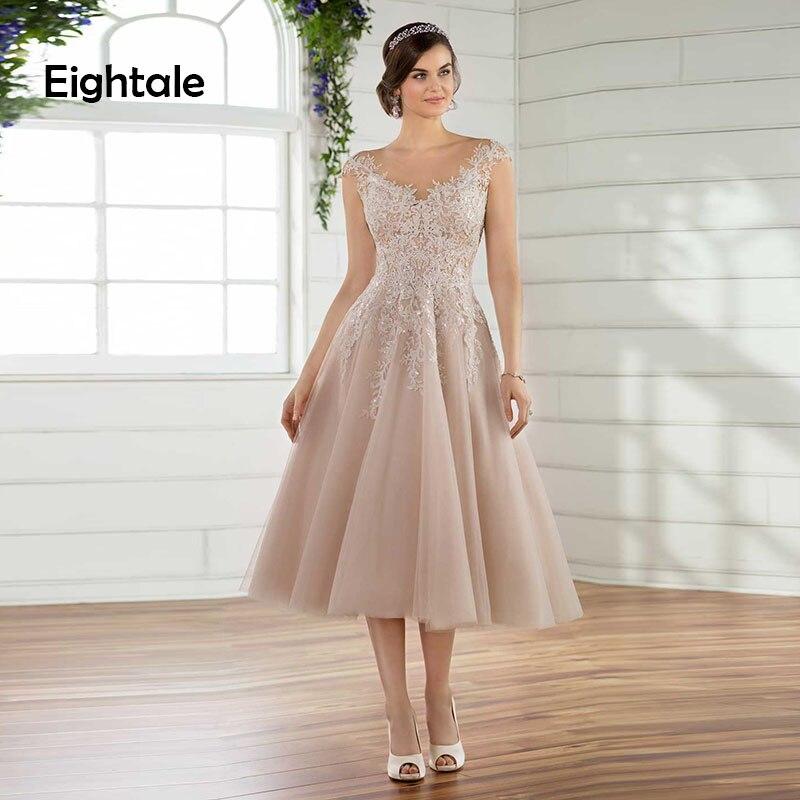 Eightale Short Wedding Dress Beach O Neck A Line Appliques Tea Length Boho Wedding Gowns Princess