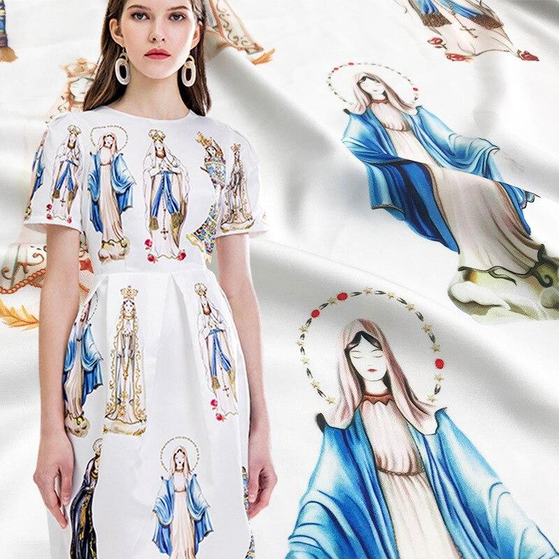 2019 new hand painted Madonna digital printing fabric spring and summer hot clothing handmade DIY fashion