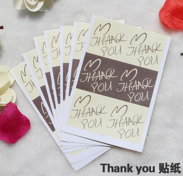 60Pcs/Lot New Coffee Color Thank You Handmade Cake Packaging Sealing Label Kraft Sticker Baking DIY Work Gift Square Stickers