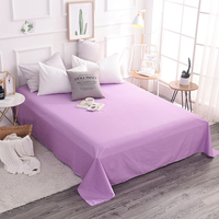 Elegant Lilac Solid Color 1Pcs 100% Cotton Soft Bedding Home Textile Solid Fitted Sheet Bed Sheet Bedspread Super King 250x270cm
