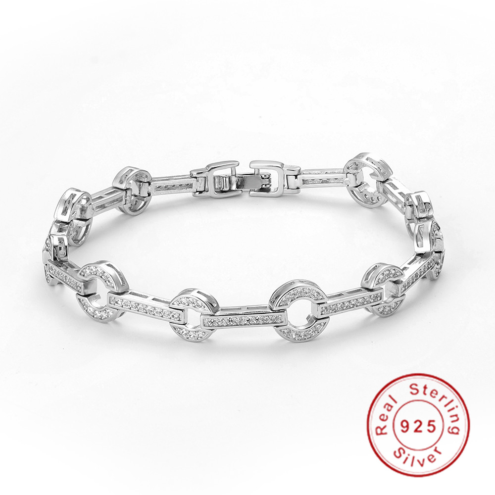 2019 Newest Design 925 Sterling silver 18cm Chain Pave Cubic Zirconia Crystal Fashion Ladies Bracelet for Women girl Gift
