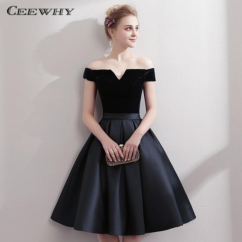 CEEWHY סירת צוואר סאטן שמלה שחורה קטנה ואלגנטית באורך הברך שמלות קוקטייל קצר שמלות נשף קוקטייל mi חלוק לונג