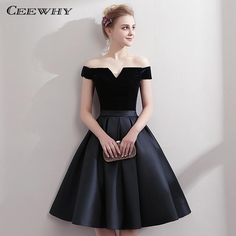 CEEWHY Boat Neck Satin Little Black Dress Elegant Short Cocktail Dresses Knee Length Prom Dresses Robe Cocktail Mi Longue