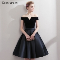 CEEWHY Boat Neck Satin Little Black Dress Elegant Short Cocktail Dresses Knee Length Prom Dresses Robe Cocktail mi Longue