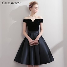 CEEWHY Boat Neck Satin Little Black Dress Elegant Short Cocktail Dresses Knee Length Prom Dresses Robe Cocktail mi Longue(China)