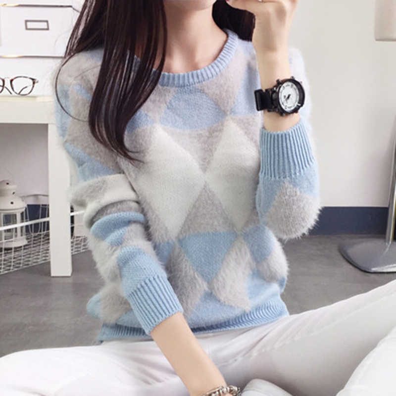 Autumn and winter students sweater Korean style mohair plaid long-sleeved College knit imitation cashmere pullovers 17129