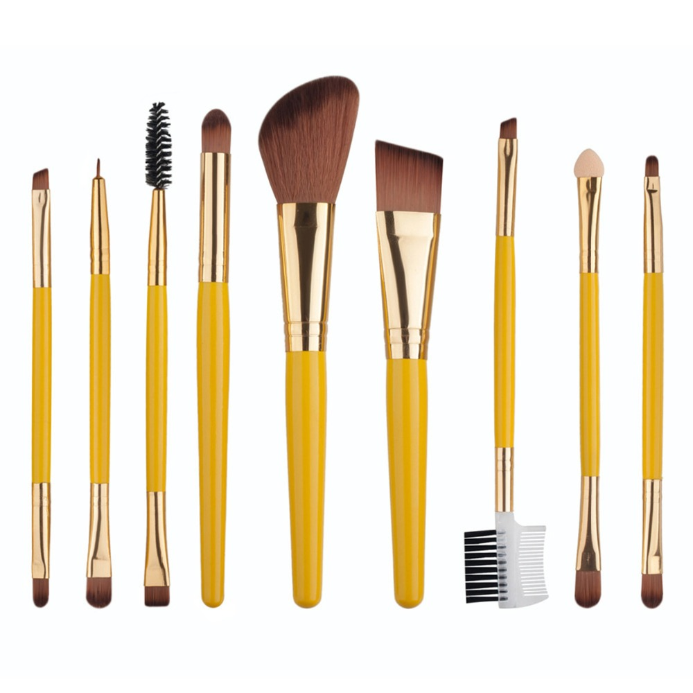 9pcs Makeup Brushes Professional Set Cosmetic Blush Lip Make Up Brush Eyebrow Eyeliner Beauty Brushes Tool Set Chic Design free shipping durable 32pcs soft makeup brushes professional cosmetic make up brush set