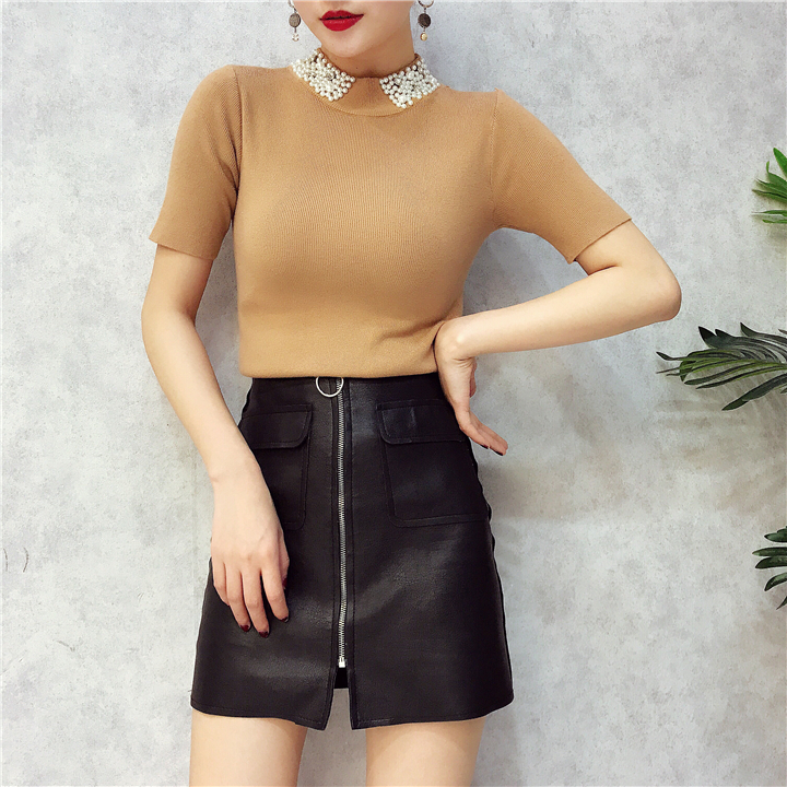 ALPHALMODA 18 Summer Ladies Short-sleeved Pearl Collar Pullovers Casual Slim Knit Sweater Women Studded Fashion Jumpers 23