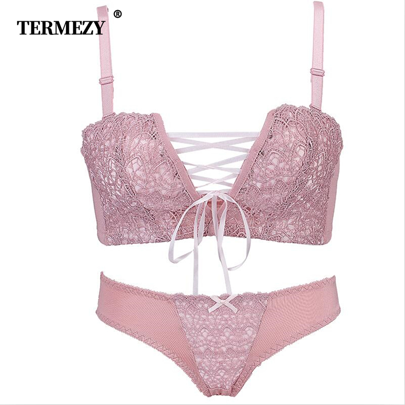 TERMEZY women intimates Japanese super Sexy Underwear push up bra red and pink Princess straps belt lace women bra set Lingerie
