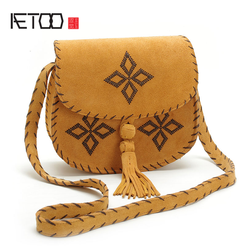 AETOO Leather shoulder bag retro embroidered embroidery diagonal package calfskin fashion bagAETOO Leather shoulder bag retro embroidered embroidery diagonal package calfskin fashion bag