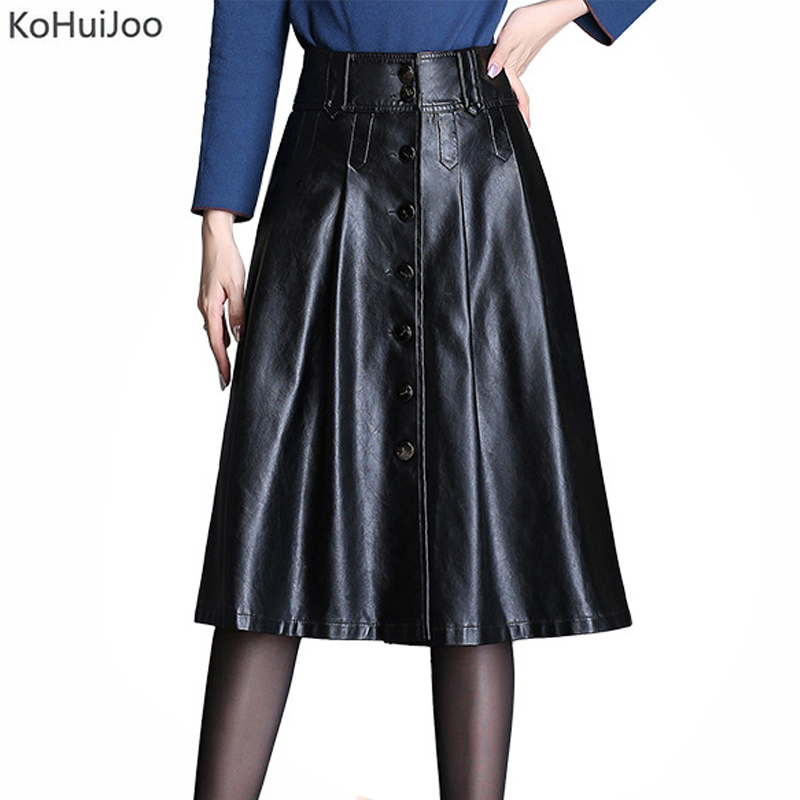 KoHuiJoo 3XL 4XL Women Plus Size Pu Leather Skirt Spring Autumn Winter Button Casual A Line Faux Leather Skirts Large Size Black