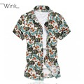 Flowers Summer Short Sleeve Mens Shirt Casual Dress Slim Fit Big Size m-6xl Camisa Social Floral Stretchy Beach Comfortable S083