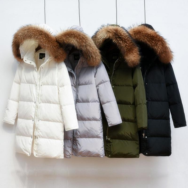2018 Female   Parkas   90% White Duck Down Jacket For Winter Jacket Women Long Thick   Parka   100% Natural Raccoon Fur Collar Hood Coa