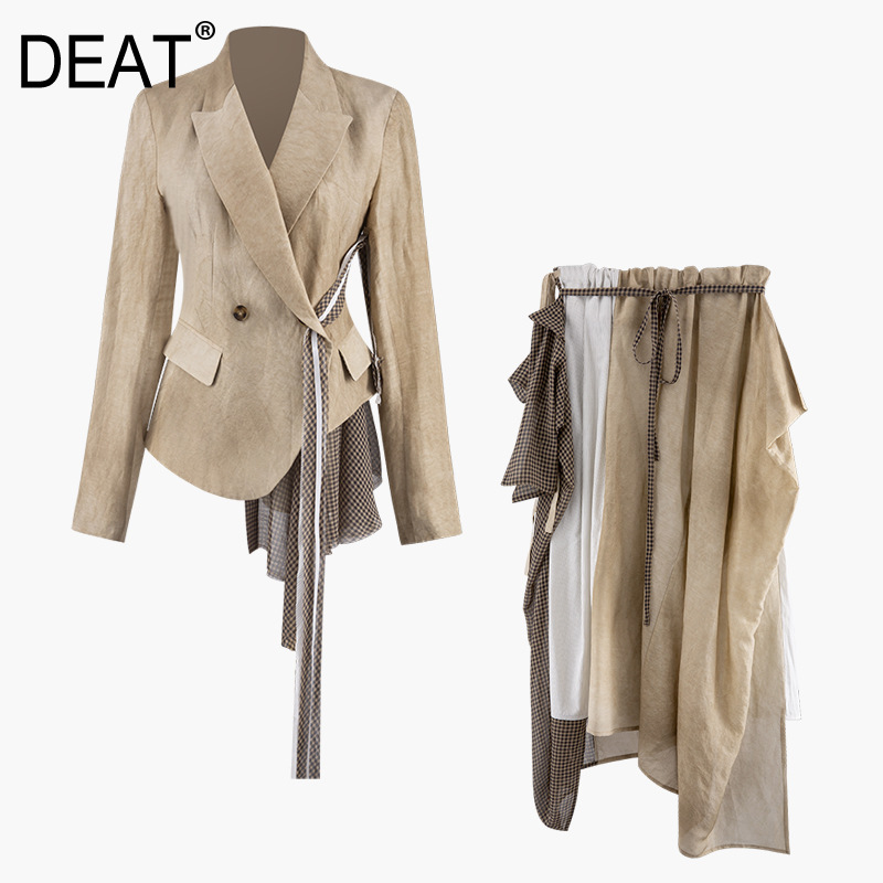 DEAT 2019 New Early Autumn Fashion Women Clothes Turn-down Collar Blazer Belts Asymmetrical And Skirts Set Plaided WH64804L