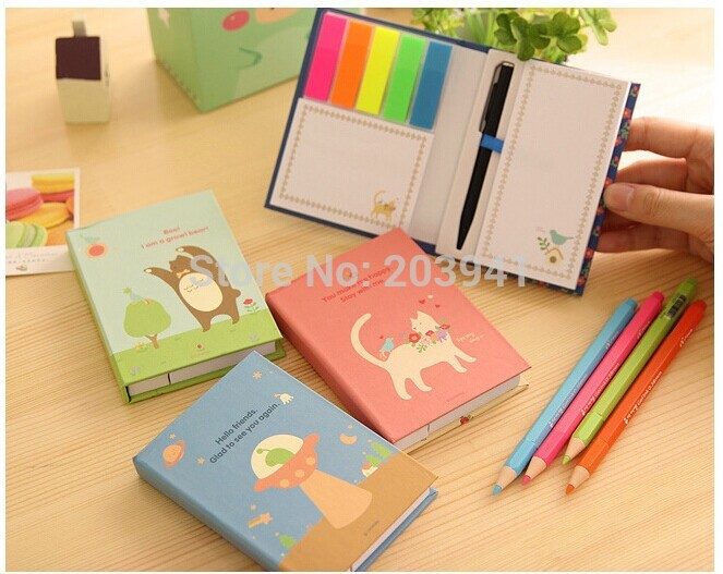 1PC/lot Cartoon animals bird cats Rainbow note Memo Hard cover sticky notes Post paper Stationery Office school supplies