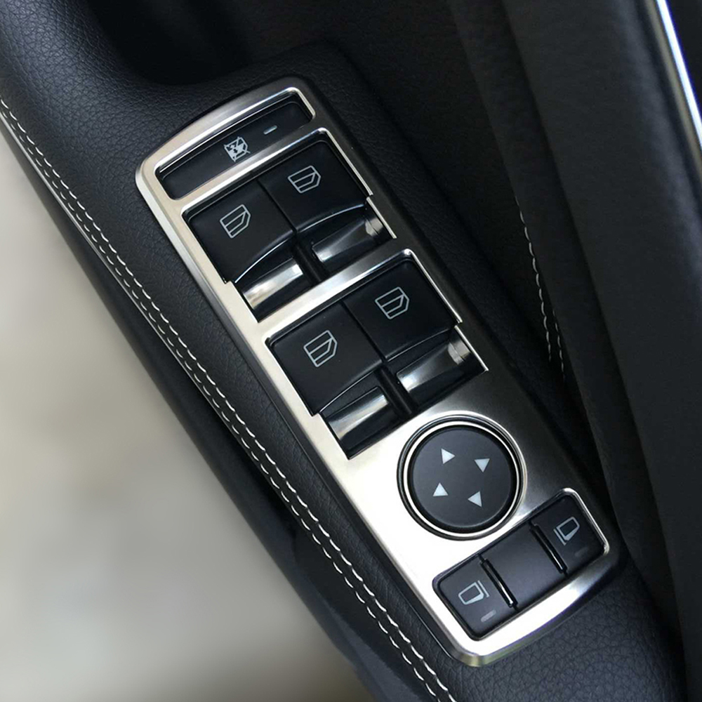 car interior chrome door window switch panel cover trim for mercedes benz a b c e cls class w176. Black Bedroom Furniture Sets. Home Design Ideas