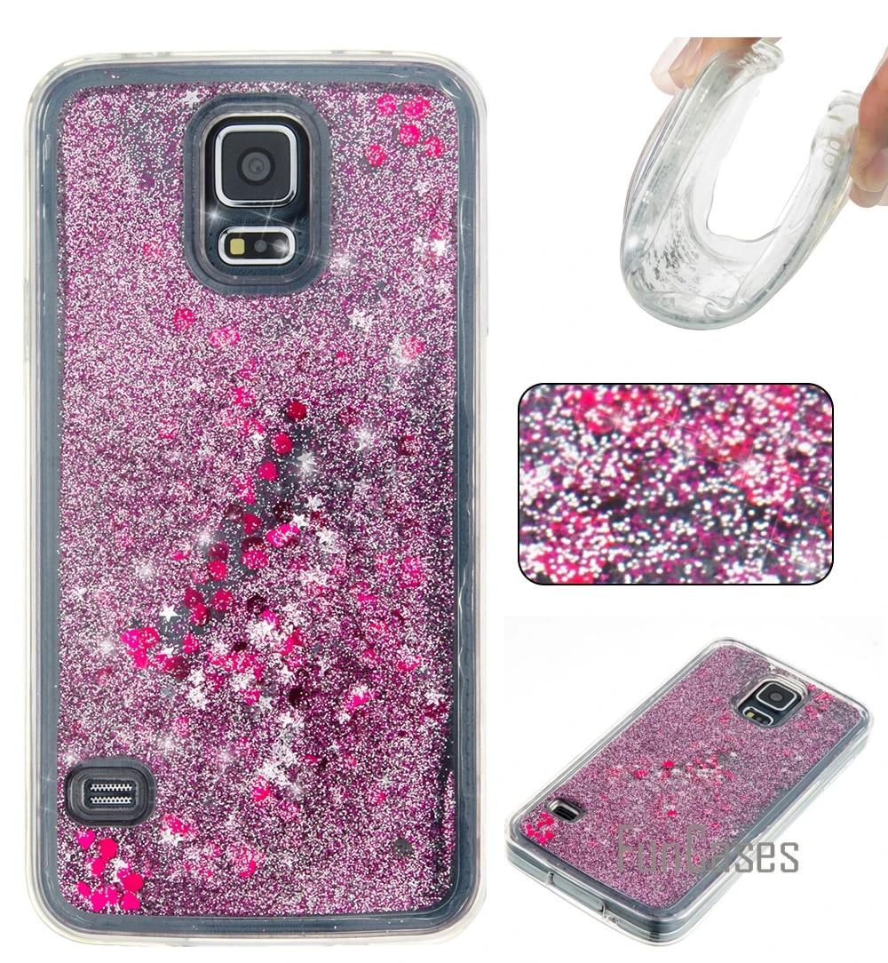 Dynamic Glitter Liquid Case for coque Samsung S5 Case S5 SV i9600 for fundas Samsung Galaxy S5 Case Quicksand Cover