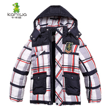 jacket for Boys Plaid Printing Winter White Duck Down Coats Thickening Parkas Jackets Brand Hooded Children