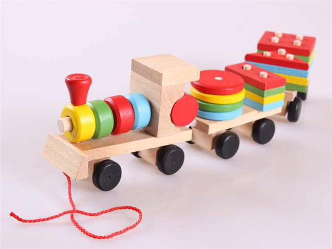 Mainan kayu baru, Kereta kecil bentuk blok kayu kereta api, Model anak-anak, Bangunan mainan, Mainan bayi, Pengiriman gratis