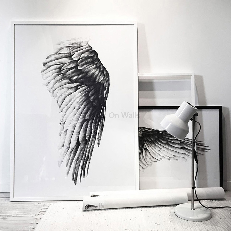 Bez okvira Angel Wings Poster Scandinavian Canvas Slikanje za dnevnu sobu Wall Picture Crno Bijelo Ispis Nordic Art Home Decor
