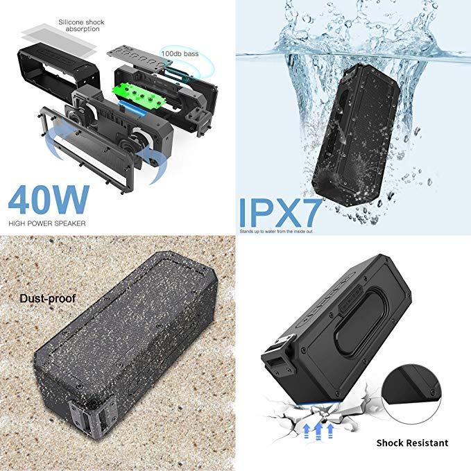 IPX7 Waterproof Portable Speaker Super shockproof High power 40w Bluetooth Column Subwoofer Music Speaker Center System