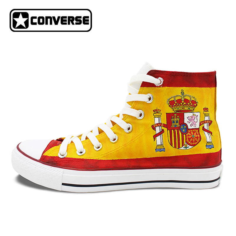 Custom Design Spain Flag Converse All Star Hand Painted Shoes High Top Canvas Sneakers Men Women Unique Christmas Gifts