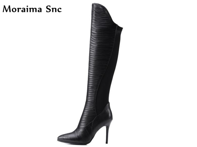 Moraima Snc fashion women riding boots pleated PU leather pointed toe thin high heel knee-high side zip 2018 newest women boots jialuowei women sexy fashion shoes lace up knee high thin high heel platform thigh high boots pointed stiletto zip leather boots