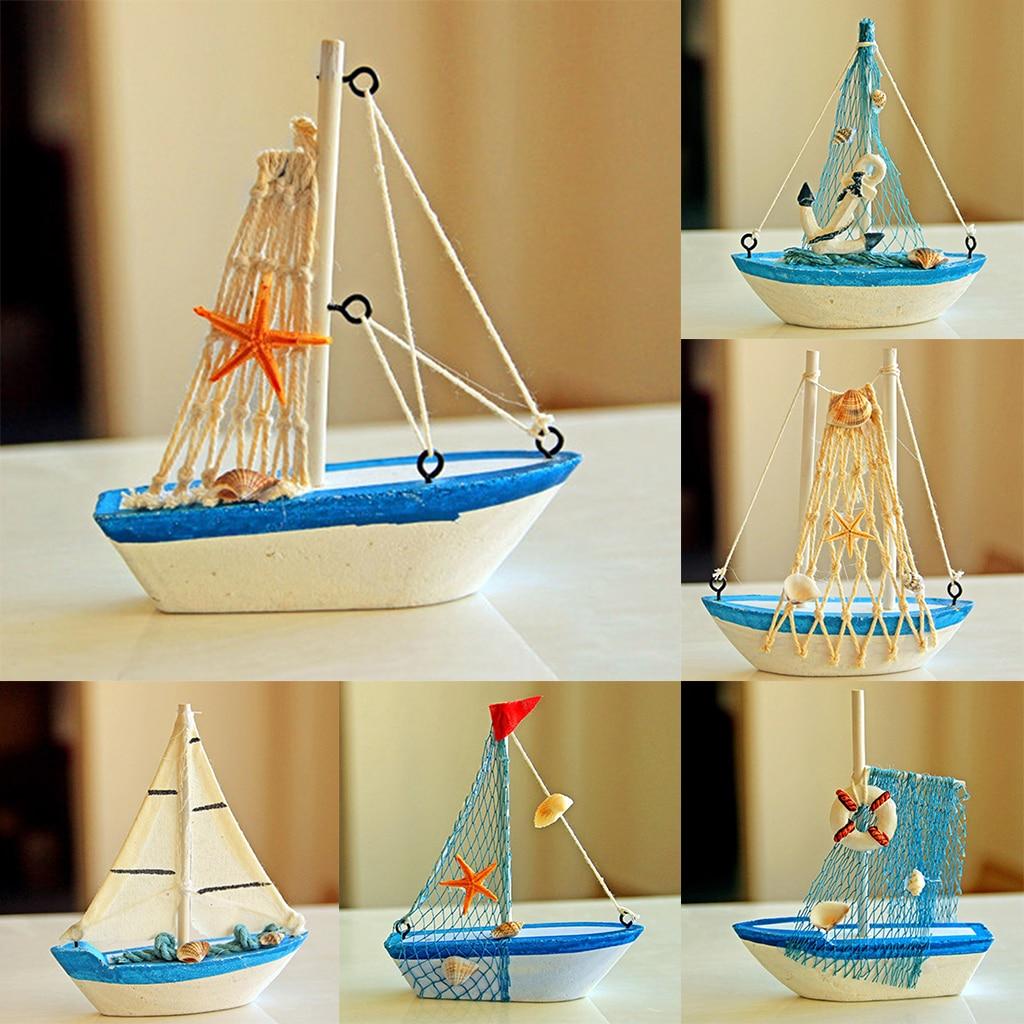 Mini Sailboat Wood Rudder Sailing Ship Nautical Wood ShipCollectibles Home Display Home Desk Display Deracotion