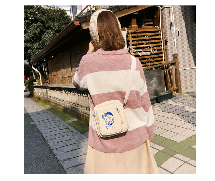 Menghuo Canvas Shoulder Bags for Girls Cartoon Printing Totes Small Flap Casual Messenger Bag Handbag Crossbody Bag for Women_34_08
