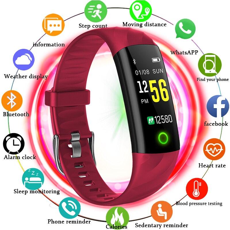 BANGWEI 2018 nuevo inteligente electrónica reloj de los hombres de las mujeres ciclismo escalada deporte salud podómetro LED pantalla a Color reloj de Fitness